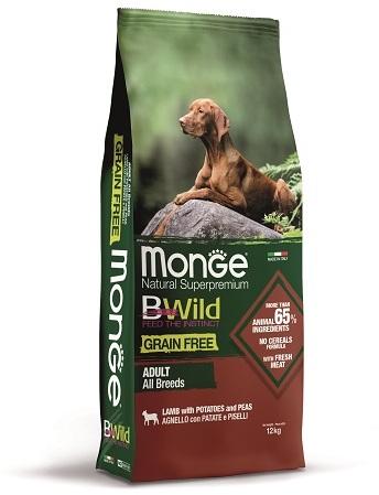 Monge Dog BWild Grain Free корм для взрослых собак, беззерновой, ягненок, картофель и горох 12 кг