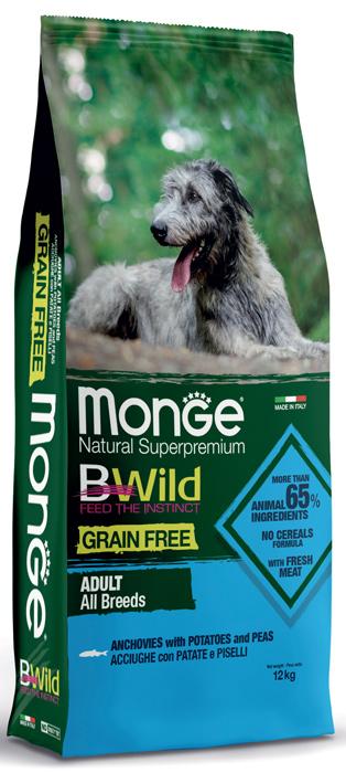 Monge Dog BWild GF корм для взрослых собак всех пород, беззерновой, анчоусы, картофель и горох 12 кг