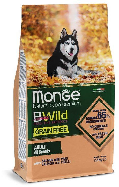 Monge Dog BWild Grain Free корм для взрослых собак всех пород, беззерновой, лосось и горох 2,5 кг