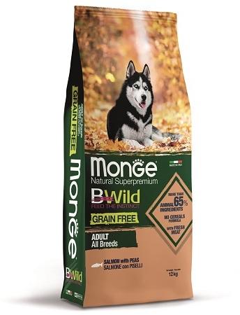 Monge Dog BWild Grain Free корм для взрослых собак всех пород, беззерновой, лосось и горох 12 кг