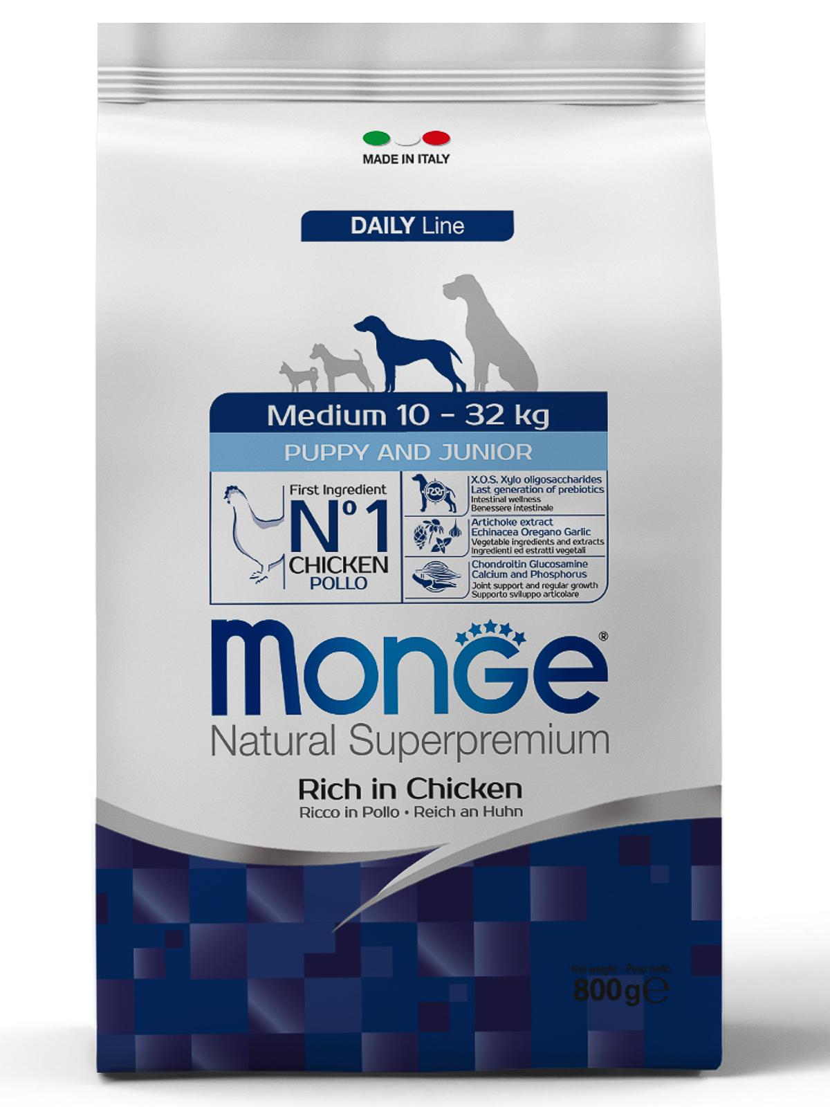 Monge Dog Medium Puppy & Junior корм для щенков средних пород, курица 800 гр