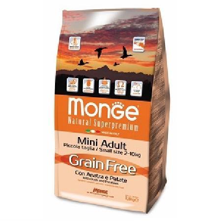 Monge Dog BWild Grain Free корм для собак всех возрастов малых пород, беззерновой, утка с картофелем 2,5 кг