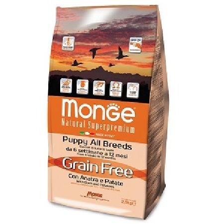 Monge Dog BWild Grain Free корм для щенков всех пород, беззерновой, утка с картофелем 2,5 кг