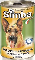 Simba Dog консервы для собак кусочки дичи 1230г