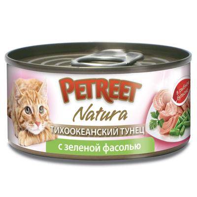 Petreet Консервы для кошек, кусочки тихоокеанского тунца с зеленой фасолью в рыбном бульоне A53094, 0,070 кг, 54013