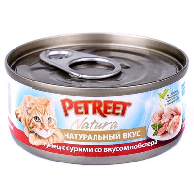 Petreet Консервы для кошек, кусочки тунца с сурими со вкусом лобстера в рыбном бульоне A53161, 0,070 кг, 54016