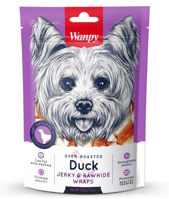 Wanpy лакомство для взрослых собак всех пород, кости из сыромятной кожи с утиным мясом 100 гр