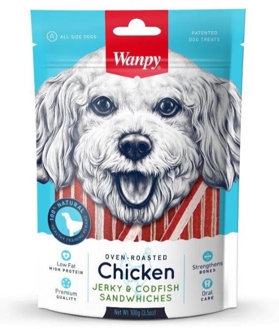 Wanpy лакомство для взрослых собак всех пород, курица с треской в форме сэндвича 100 гр