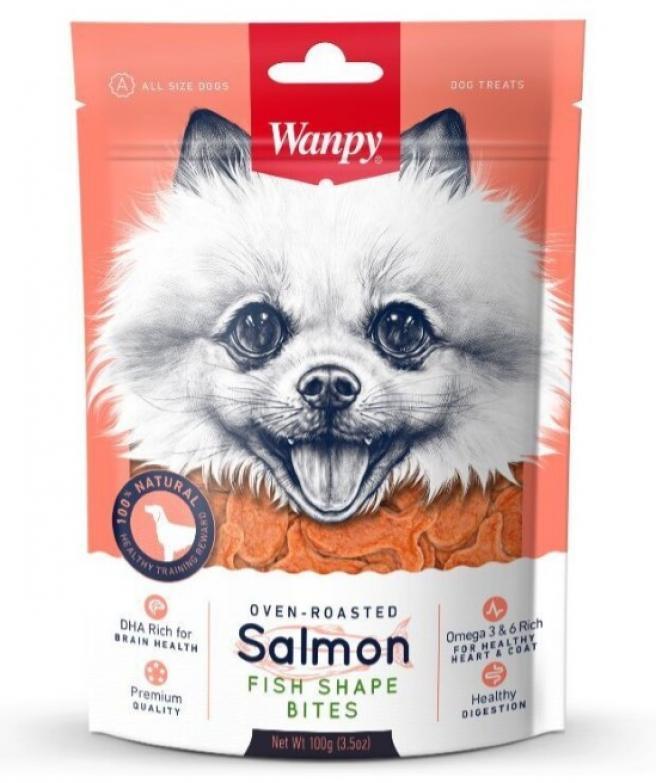 Wanpy лакомство для взрослых собак всех пород, нежный лосось в форме рыбок 100 гр