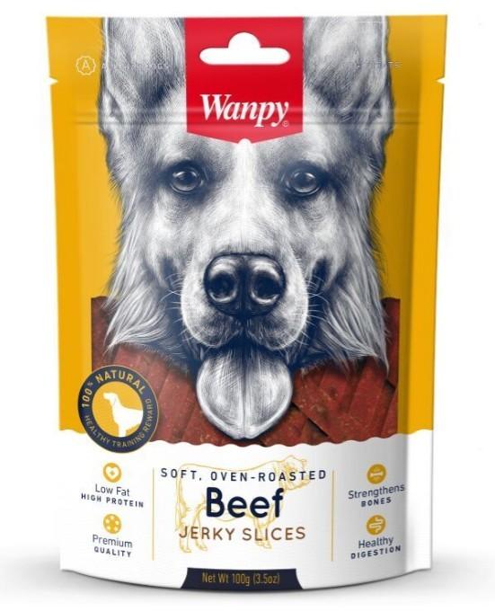 Wanpy лакомство для взрослых собак всех пород, соломка из вяленой говядины 100 гр