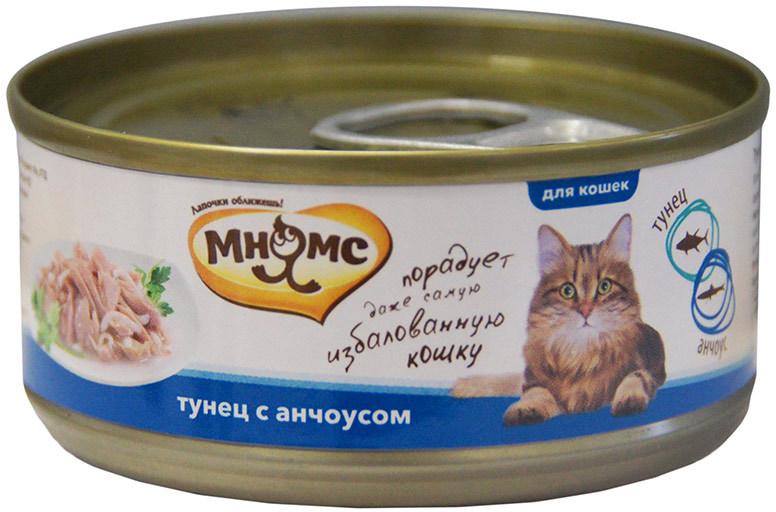 Мнямс влажный корм для взрослых кошек всех пород, тунец с анчоусами 70 гр