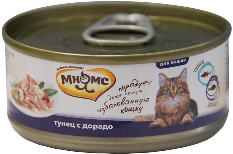 Мнямс влажный корм для взрослых кошек всех пород, тунец с дорадо 70 гр