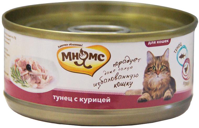 Мнямс влажный корм для взрослых кошек всех пород, тунец с курицей 70 гр