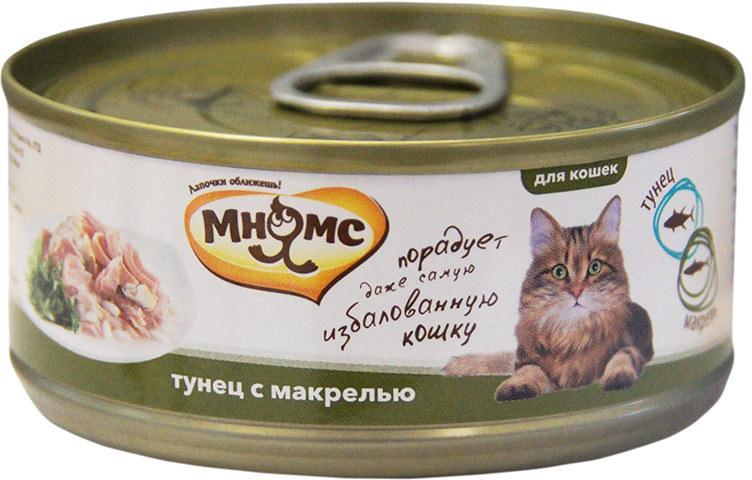 Мнямс влажный корм для взрослых кошек всех пород, тунец с макрелью 70 гр