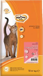 Мнямс корм для взрослых кошек всех пород, для кожи и шерсти, лосось и тунец 10 кг