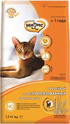 Мнямс корм для взрослых стерилизованных кошек всех пород, курица и индейка 1,5 кг