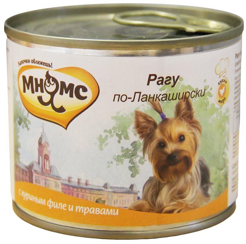 Мнямс влажный корм для взрослых собак всех пород, Рагу по-Ланкаширски (куриное филе с травами) 200 гр