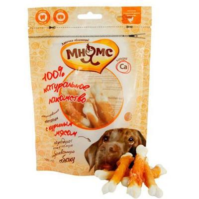 Мнямс лакомство для взрослых собак всех пород, кальцинированные косточки с куриным мясом 100 гр