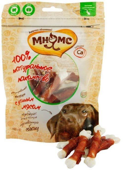 Мнямс лакомство для взрослых собак всех пород, кальцинированные косточки с утиным мясом 100 гр