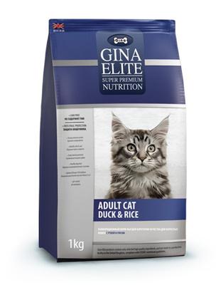 Gina ВИА Полнорационный корм для взрослых кошек с уткой и рисом( Elite Adult Cat Duck & Rice) 4607166424808, 1,000 кг