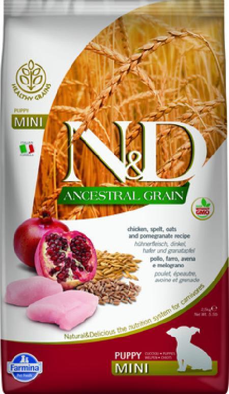 Farmina N&D Ancestral Grain корм для щенков малых пород, низкозерновой, курица и гранат 7 кг