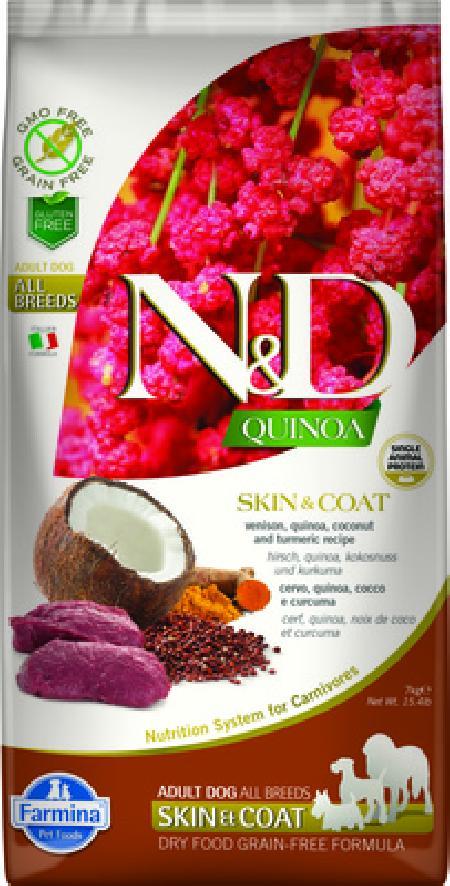 Farmina N&D Quinoa корм для взрослых собак, здоровье кожи и шерсти, беззерновой, оленина и киноа 7 кг