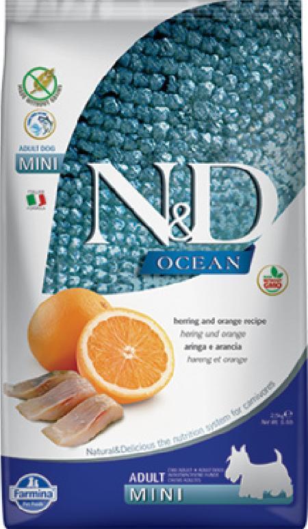 Фармина 36445 N&D OCEAN Adult Mini корм беззерновой длЯ собак обак мелких пород Сельдь с апельсином 800г