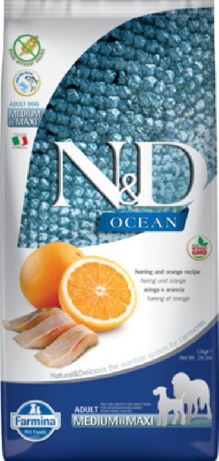 Farmina N&D Ocean корм для взрослых собак средних и крупных пород, беззерновой, сельдь и апельсин 12 кг
