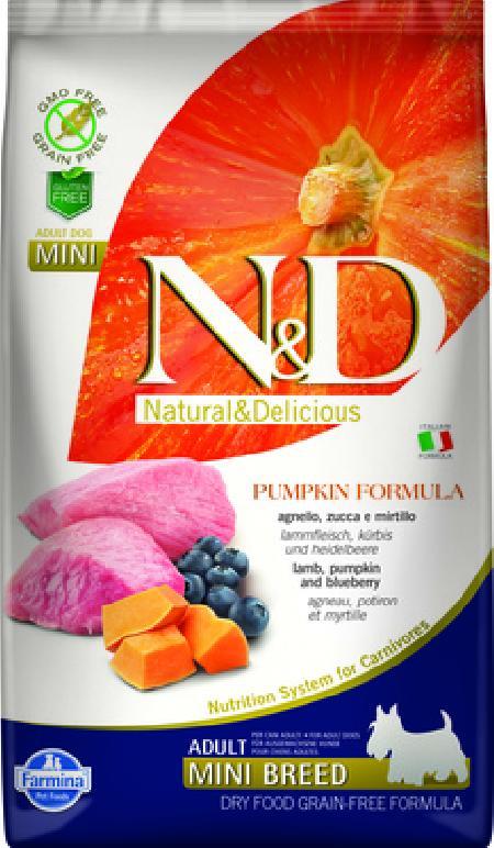 Farmina N&D Pumpkin корм для взрослых собак малых пород, беззерновой, ягненок, черника и тыква 800 гр