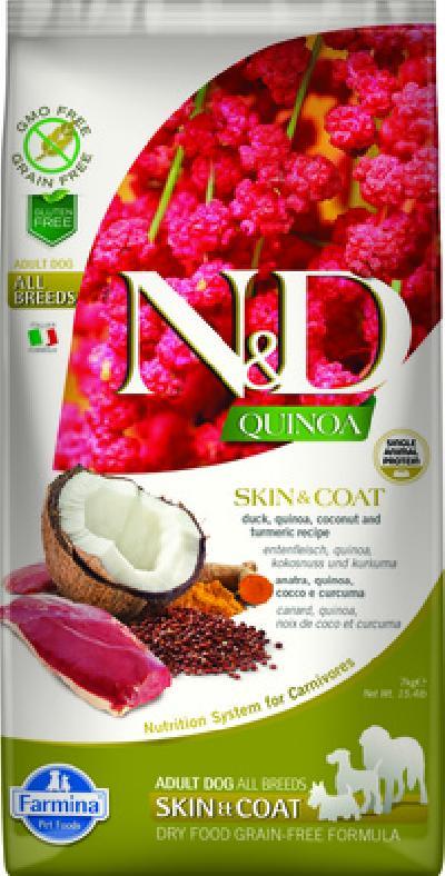 Farmina N&D Quinoa корм для взрослых собак, здоровье кожи и шерсти, беззерновой, утка и киноа 7 кг