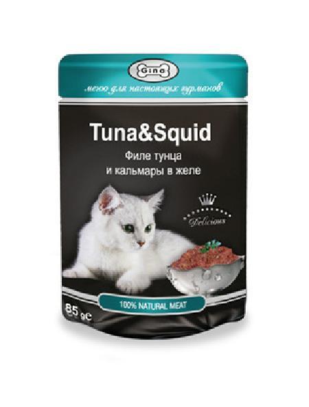 Gina Консервы для кошек  с тунцом и кальмаром 4607166427632, 0,085 кг