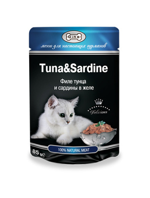 Gina Консервы для кошек с тунцом и сардинам 4607166420961, 0,085 кг