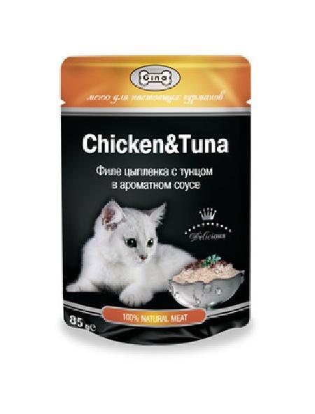 Gina Консервы для кошек с  тунцом и цыпленком 4607166420947, 0,085 кг