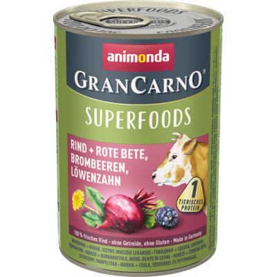 Animonda Консервы для взрослых собак c говядиной + свекла, ежевика, одуванчик (Gran Carno Superfoods), 0,400 кг