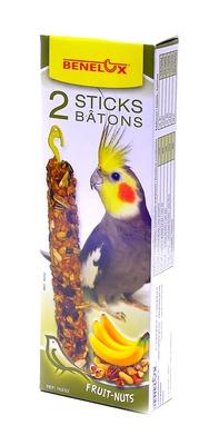Benelux корма ВИА Лакомые палочки с орехами и бананом для длиннохвостых попугаев (Seedsticks parakeet Nuts/Banana x 2 pcs) 16252, 0,110 кг, 600100847