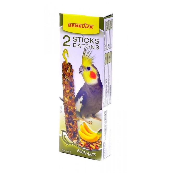 Benelux корма ВИА Лакомые палочки с орехами и бананом для длиннохвостых попугаев (Seedsticks parakeet Nuts/Banana x 2 pcs) 16252, 0,110 кг, 50858
