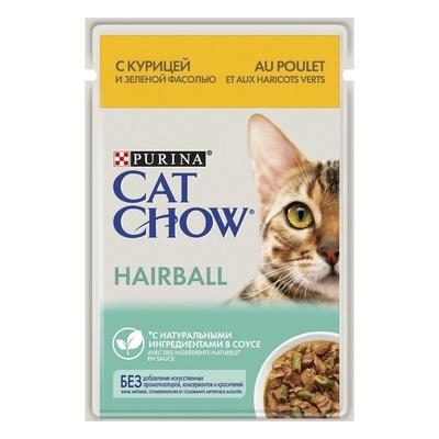 Cat Chow влажный корм для взрослых кошек, вывод комочков шерсти, курица и зеленая фасоль в соусе 85 гр