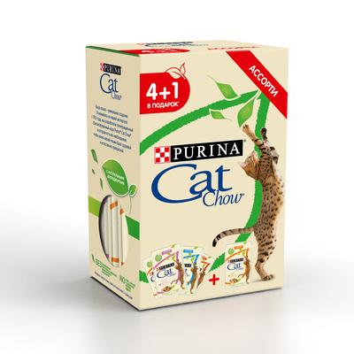 Cat Chow Набор 4+1 Паучи для взрослых кошек Ассорти 12439307, 0,425 кг, 43286