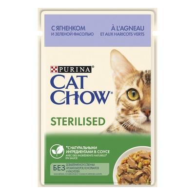 Cat Chow Паучи для стерилизованных кошек Кусочки в соусе сягненком и зеленой фасолью 12403813/12481913, 0,085 кг