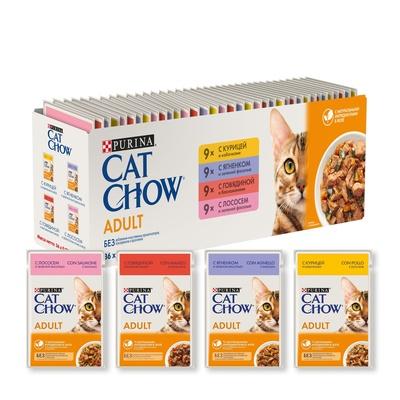 Cat Chow Adult мультипак влажный корм для взрослых кошек 4 вкуса, курица, говядина, лосось, ягненок 36x85 гр