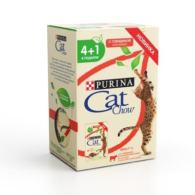 Cat Chow ВИА Промо-набор 4+1 Паучи для кошек Кусочки в желе сговядиной и баклажанами 12404227, 0,425 кг, 254080