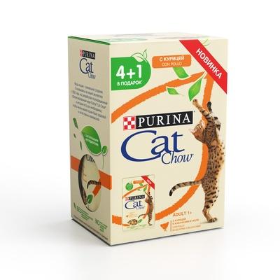 Cat Chow ВИА Промо-набор 4+1 Паучи для кошек Кусочки в желе скурицей икабачками 12404225, 0,425 кг, 254090