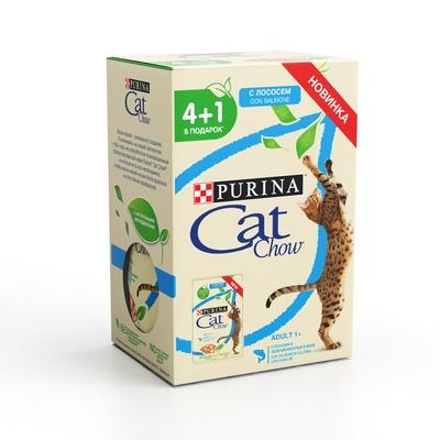 Cat Chow влажный корм для взрослых кошек всех пород, лосось 5*85гр (4+1)