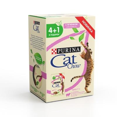 Cat Chow влажный корм для взрослых кошек всех пород, ягненок 5*85гр (4+1)