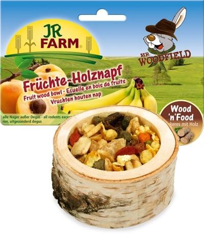 JR FARM 06791 Лакомство д/грызунов Чаша деревянная с фруктами 120г, 37110, 2400100853