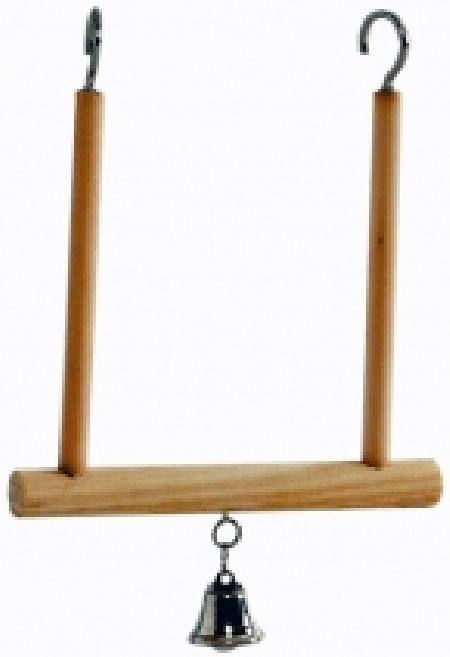 Beeztees 005101 Качели дптиц с колокольчиком деревянные 10*11см