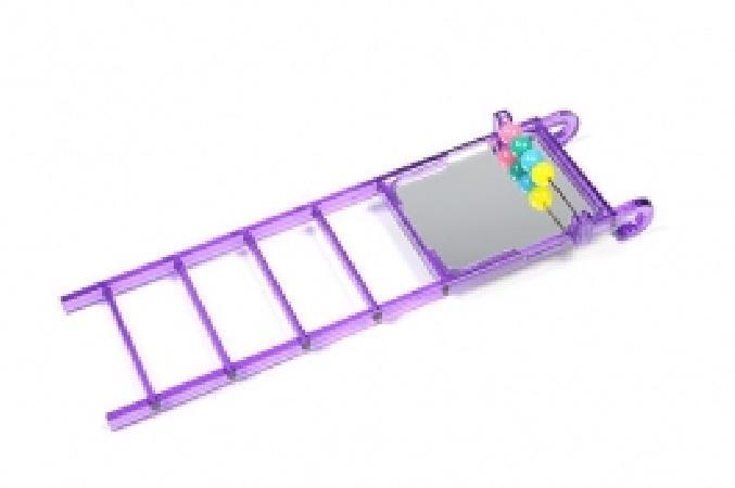 Beeztees Лесенка пластмассовая зеркало+счеты для птиц пластик фиолетовый 20 см