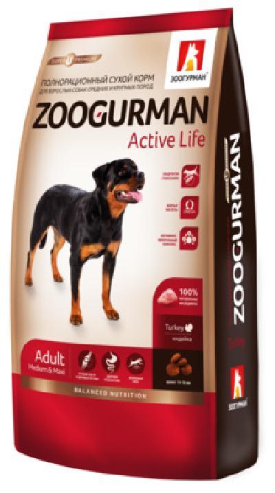 Зоогурман Сухой корм для активных собак  средних и крупных  пород,индейка 9211, 20,000 кг