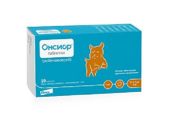 Elanco Онсиор 5мг противовосп. и болеут. препарат для собак 28таб 9908, 0,010 кг