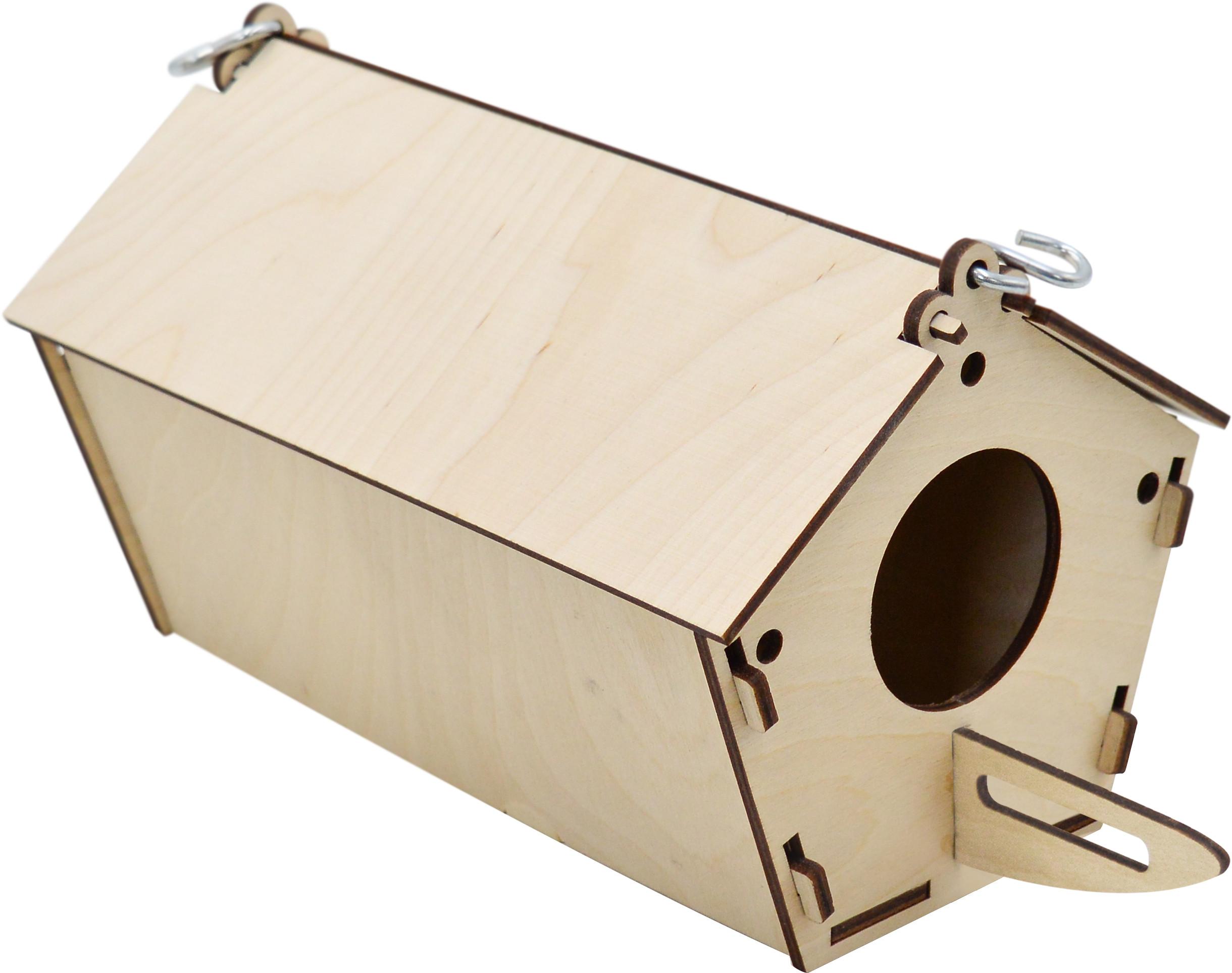 14503 домик дптиц Скворечник пятиугольный, крепление к клетке, фанера 14*27*13 см